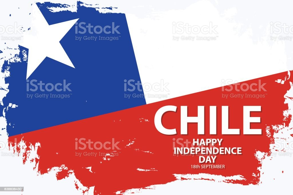 Chile Happy Independence Day holiday background with chilean national flag brush stroke. vector art illustration