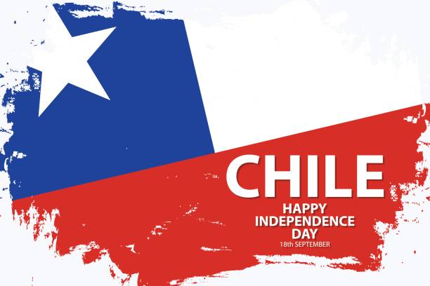 chile happy independence day urlaub hintergrund mit chilenischen nationalflagge pinsel strich. - flagge chile stock-grafiken, -clipart, -cartoons und -symbole