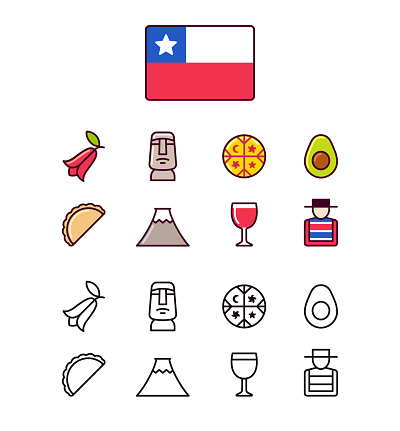 Chile icons set