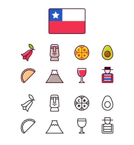 şili icons set - şili stock illustrations