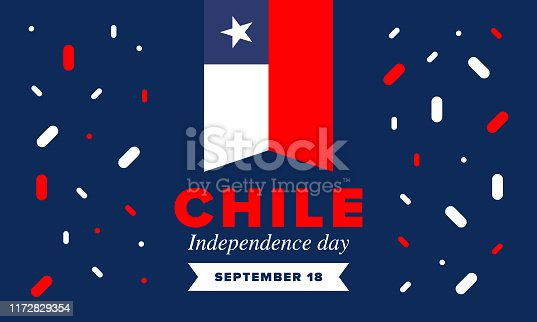 istock Chile Independence Day. Happy national holiday Fiestas Patrias. Freedom day. Celebrate annual in September 18. Chile flag. Patriotic chilean design. Poster, card, banner, template, background. Vector 1172829354