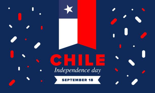 şili bağımsızlık günü. mutlu ulusal tatil fiestas patrias. özgürlük günü. yıllık 18 eylül'de kutlayın. şili bayrağı. vatansever şili tasarımı. poster, kart, afiş, şablon, arka plan. vektör - şili stock illustrations