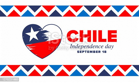 istock Chile Independence Day. Happy national holiday Fiestas Patrias. Freedom day. Celebrate annual in September 18. Chile flag. Patriotic chilean design. Poster, card, banner, template, background. Vector 1270231883