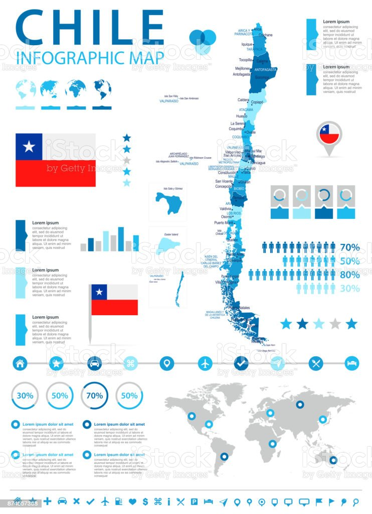 Chile - infographic map and flag - Detailed Vector Illustration vector art illustration