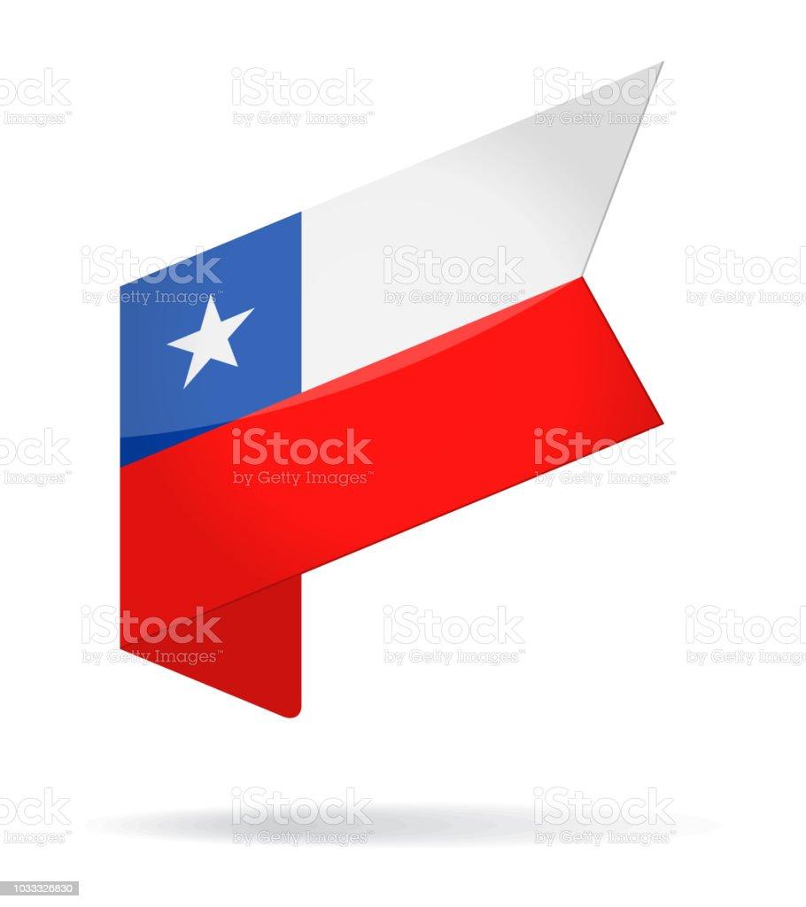 Chile - etiqueta isométrica bandera Vector icono brillante - ilustración de arte vectorial