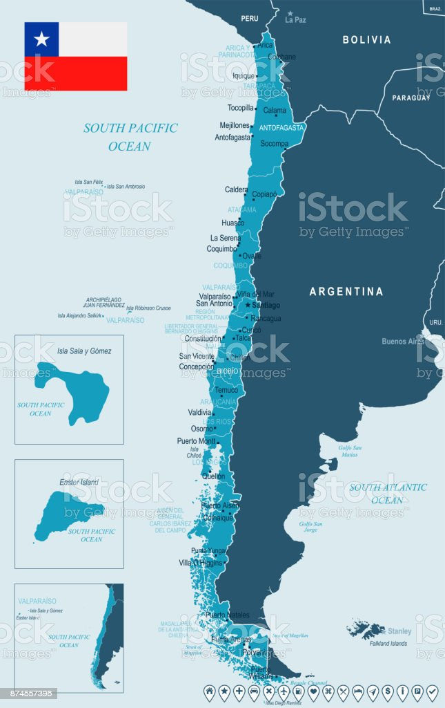Chile - map and flag - Detailed Vector Illustration vector art illustration