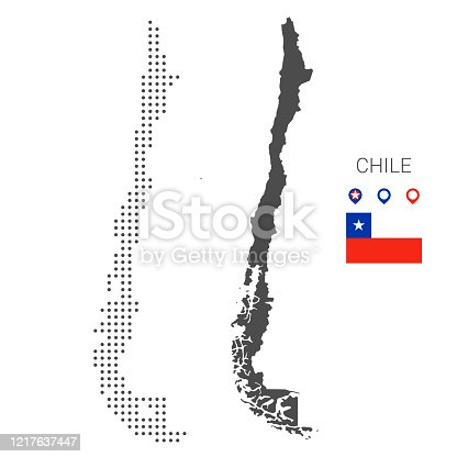 istock Chile map dotted with flag and pin 1217637447