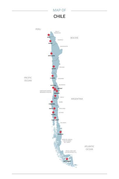 şili harita vektör kırmızı iğne ile. - şili stock illustrations