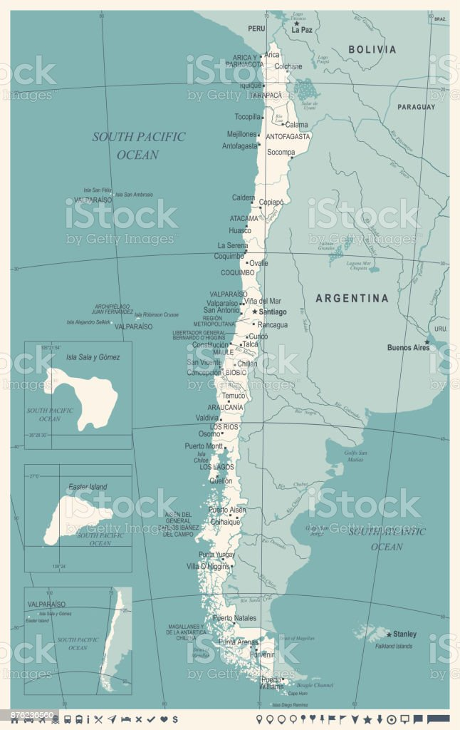Chile Map Vintage Detailed Vector Illustration Stock Vector Art