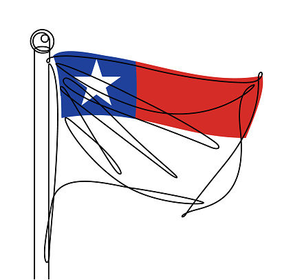 Chile National Flag One Continuous Line Abstract Vector Icon
