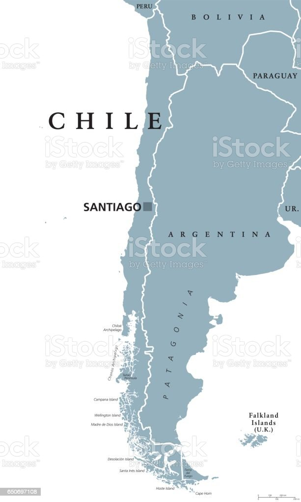 Chile political map vector art illustration