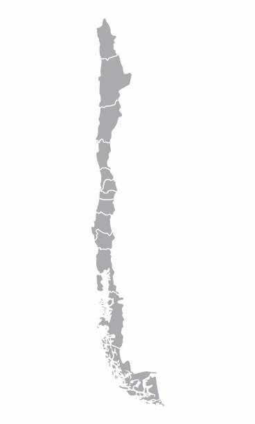 şili bölgeler haritası - şili stock illustrations