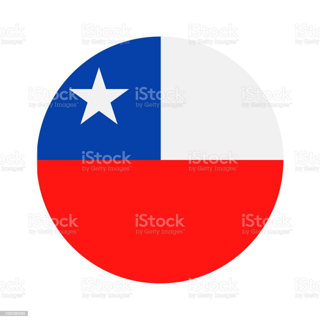 Chile - Round Flag Vector Flat Icon vector art illustration