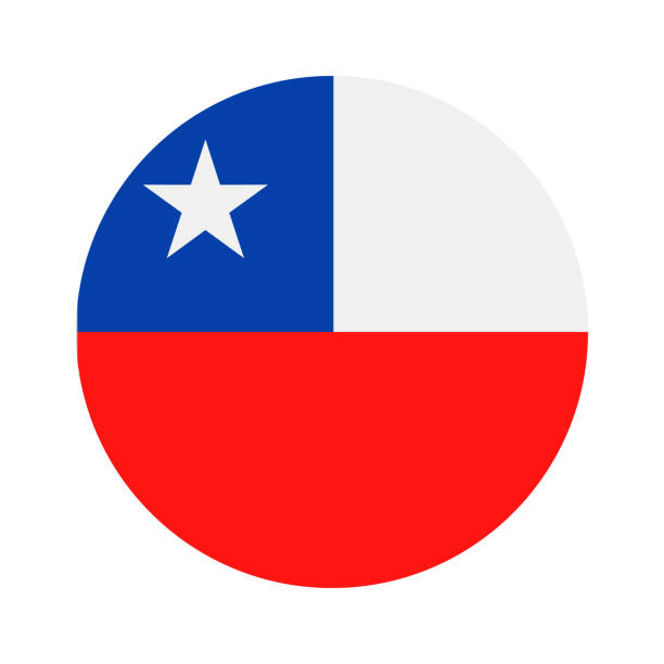 chile - round flag vector flat icon - chile flag stock illustrations, clip art, cartoons, & icons