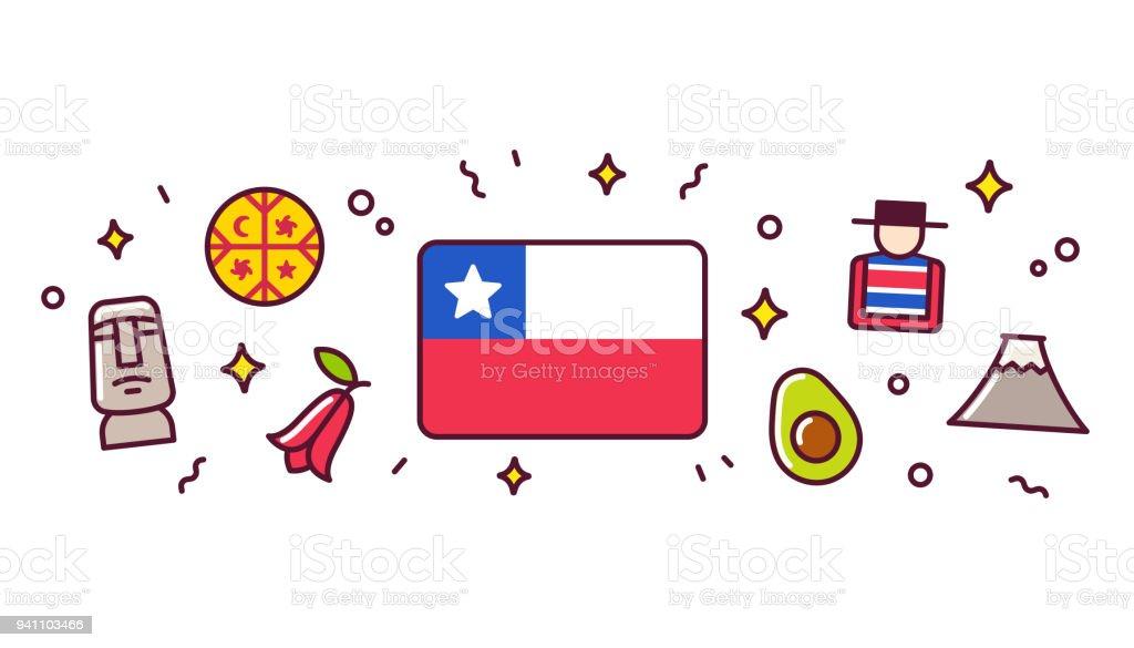 Chile-Symbole-Banner-Abbildung – Vektorgrafik