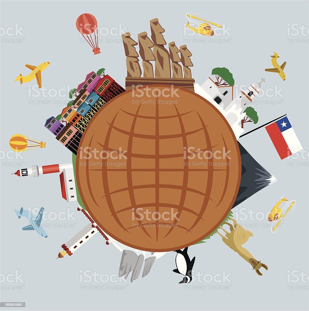 Chile Travel Symbols vector art illustration
