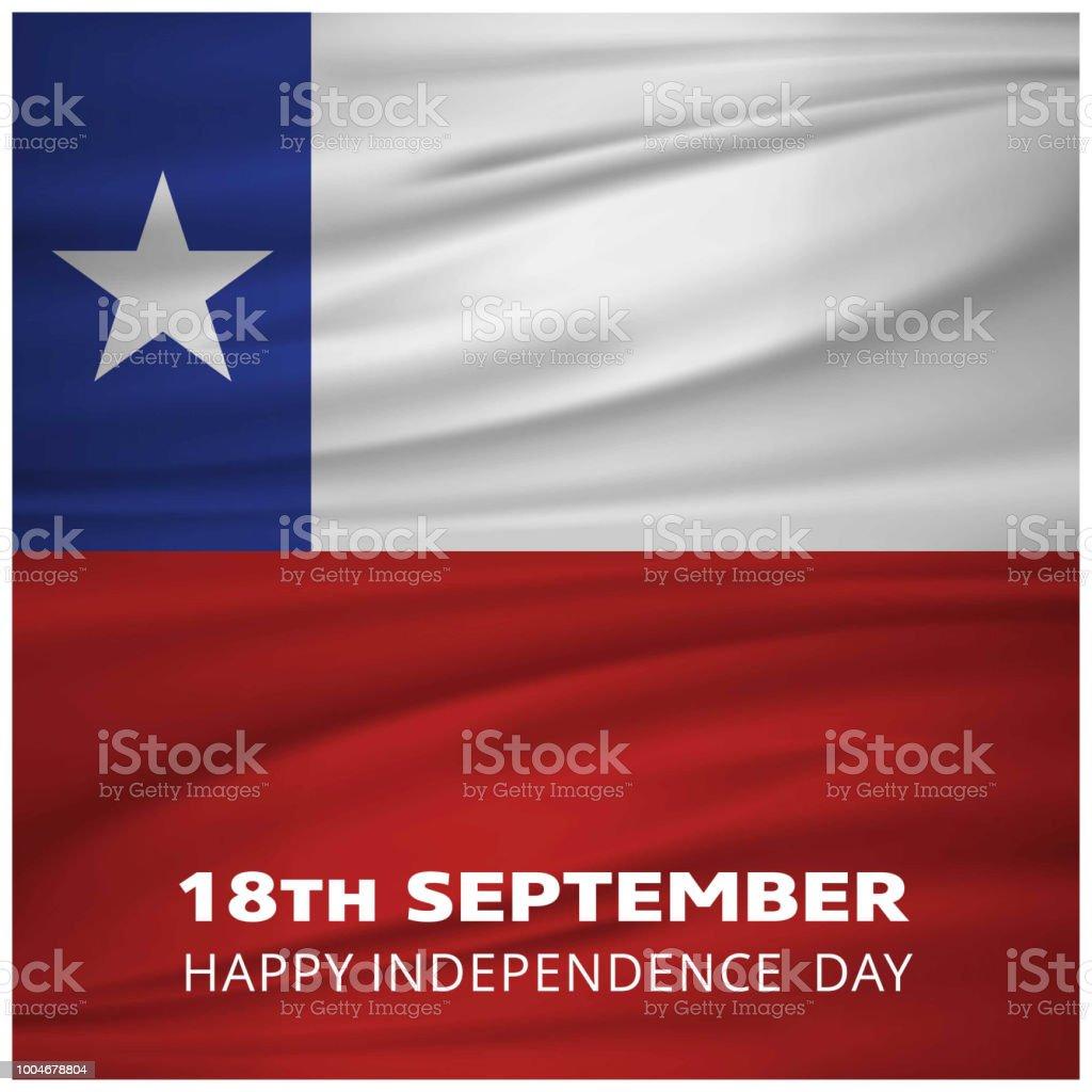Wehende Flagge mit 18. September Indepenence Freudentag Schriftzug Chile – Vektorgrafik