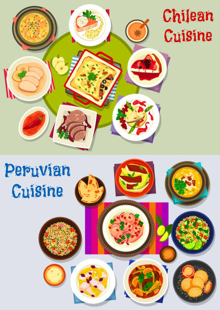 chilenischen und peruanischen gesunde ernährung-icon-set - lachskuchen stock-grafiken, -clipart, -cartoons und -symbole
