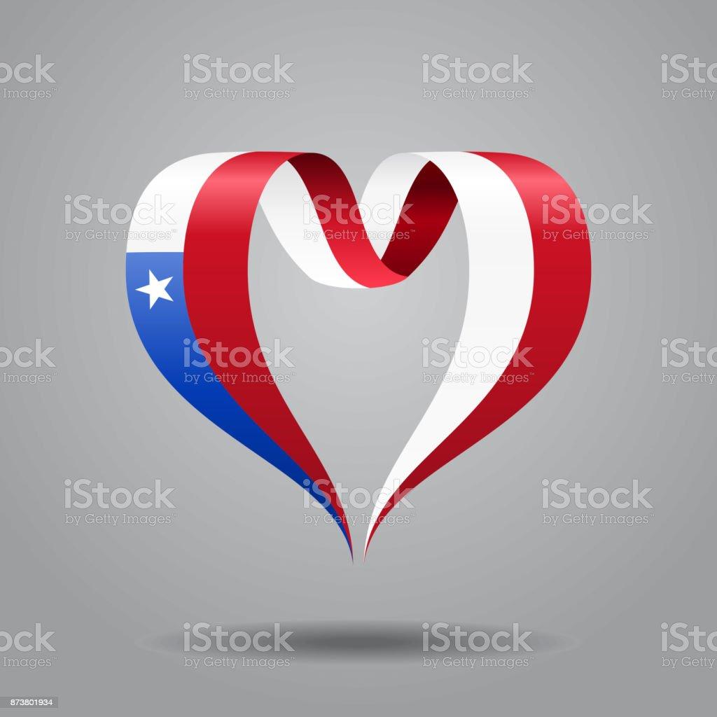 Fita de bandeira chilena em forma de coração. Ilustração em vetor. - ilustração de arte em vetor