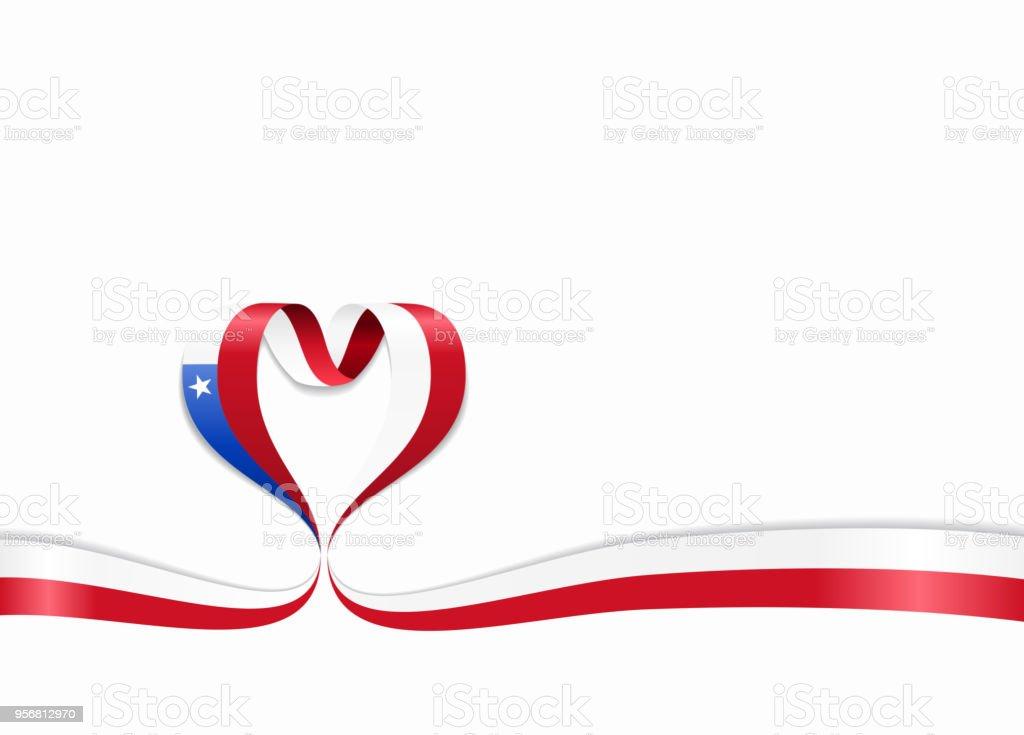 Chilean flag heart-shaped ribbon. Vector illustration. vector art illustration