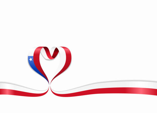 chilean flag heart-shaped ribbon. vector illustration. - chile flag stock illustrations, clip art, cartoons, & icons