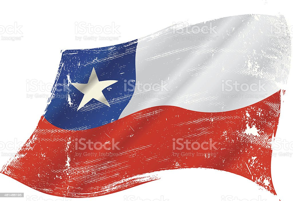 grunge de bandera chilena - ilustración de arte vectorial