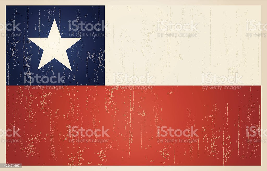 Chilean grunge vintage flag vector art illustration