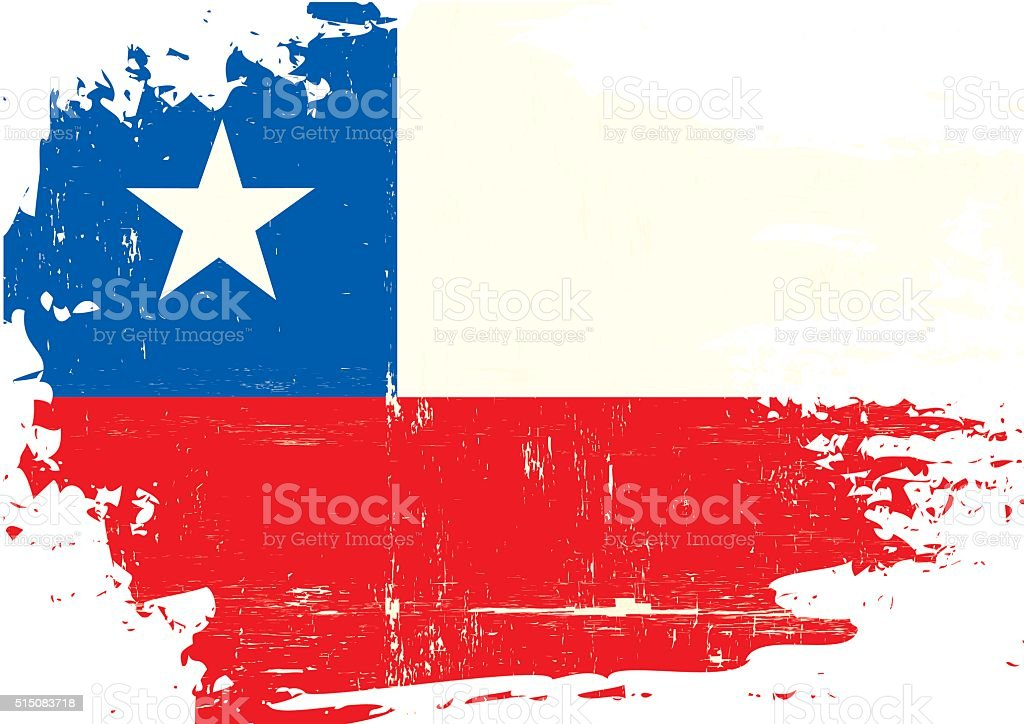 Chilean scratched Flag vector art illustration