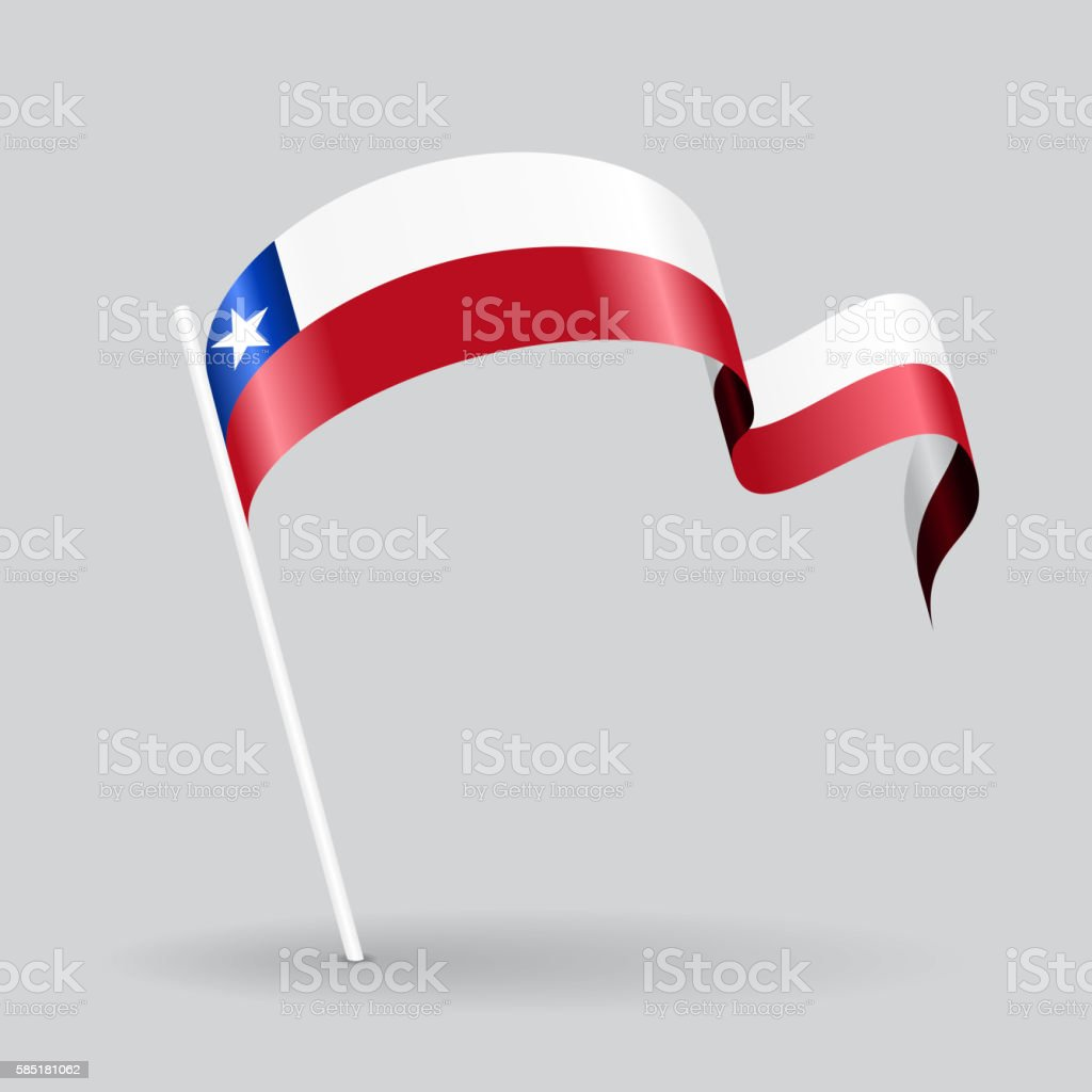 Chilean wavy flag. Vector illustration. - ilustración de arte vectorial