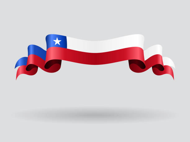 chilenische wellenförmigen flagge. vektor-illustration. - flagge chile stock-grafiken, -clipart, -cartoons und -symbole