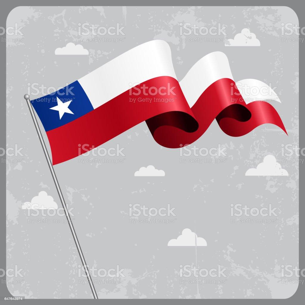 Bandera chilena wavy. Ilustración de vectores. - ilustración de arte vectorial