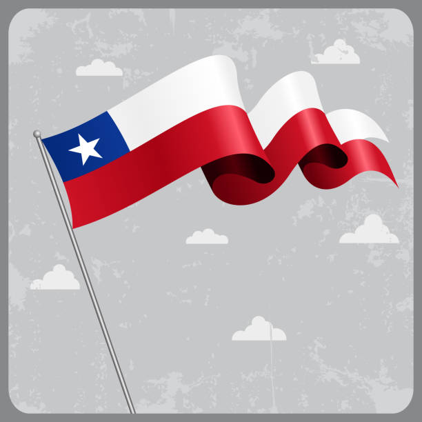 chilean wavy flag. vector illustration. - chile flag stock illustrations, clip art, cartoons, & icons