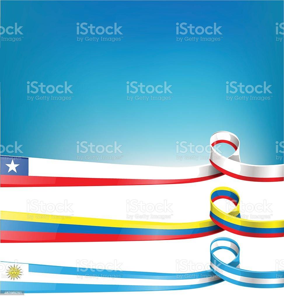 ウルグアイ、チリ、コロンビアの旗 ベクターアートイラスト