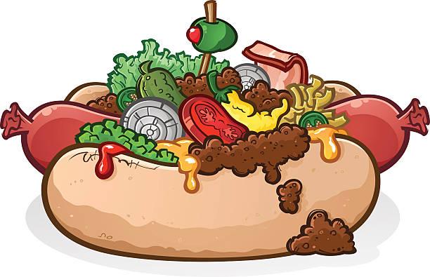 chili cheese hot dog mit garnierung comic - sauerkraut stock-grafiken, -clipart, -cartoons und -symbole