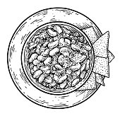 Chili con carne illustration, drawing, engraving, ink, line art, vector