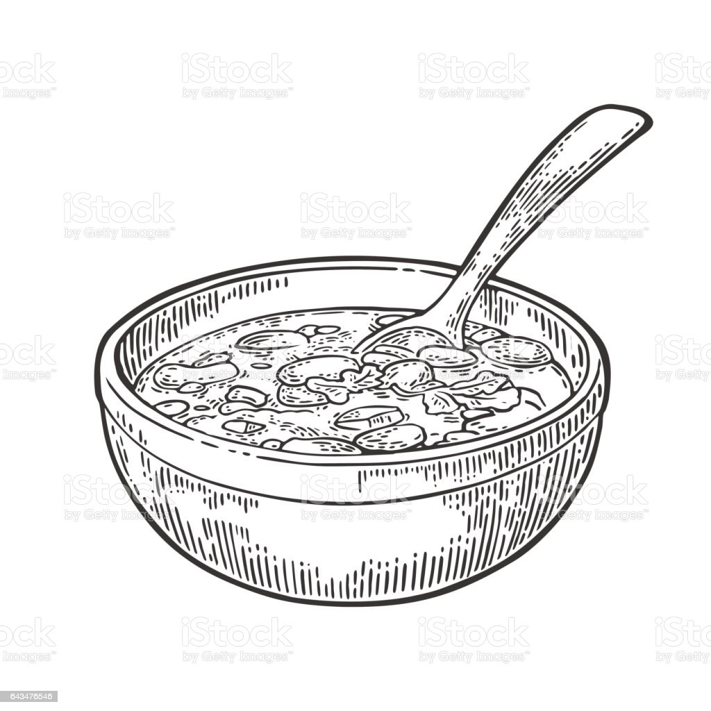 Chili con carne in bowl with spoon - mexican traditional food. vector art illustration