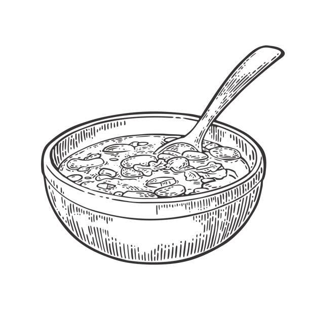 stockillustraties, clipart, cartoons en iconen met chili con carne in kom met lepel - mexicaanse traditionele gerechten. - meat pan