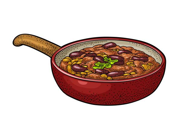 chili con carne in pan - traditionelles mexikanisches essen. vektor-gravur - chilli stock-grafiken, -clipart, -cartoons und -symbole