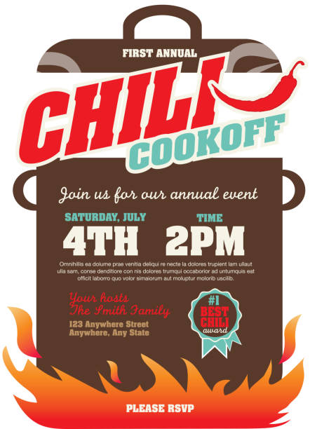 Chili cookoff event invitation design template Vector illustration of a Chili Cookoff invitation design template. Bright and colorful. Includes turquoise, red, brown color themes with large crock pot on flames. White background Perfect for white background design for picnic invitation design template, summer barbecue event, picnic celebration, backyard bbq, private or corporate party, birthday party, fun family event gathering, potluck supper. cooking competition stock illustrations