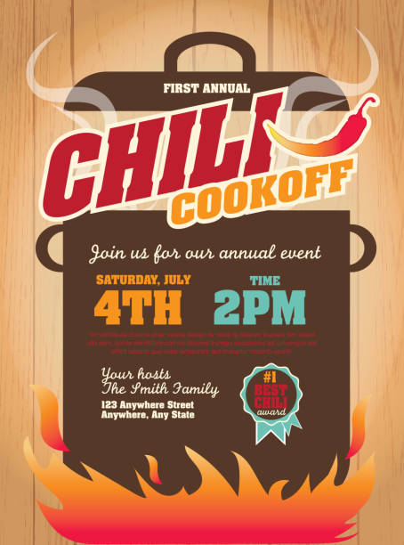 Chili cookoff invitation design template on wooden background Vector illustration of a Chili Cookoff invitation design template. Bright and colorful. Includes yellow, red color themes with large crock pot on flames. Wooden background Perfect for white background design for picnic invitation design template, summer barbecue event, picnic celebration, backyard bbq, private or corporate party, birthday party, fun family event gathering, potluck supper. cooking competition stock illustrations