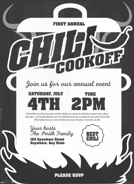Chili cookoff on chalkboard invitation design template Vector illustration of a Chili Cookoff invitation design template. Bright and colorful. Includes white and gray color themes with large crock pot on flames. Chalkboard,blackboard,chalk. Perfect for white background design for picnic invitation design template, summer barbecue event, picnic celebration, backyard bbq, private or corporate party, birthday party, fun family event gathering, potluck supper. cooking competition stock illustrations