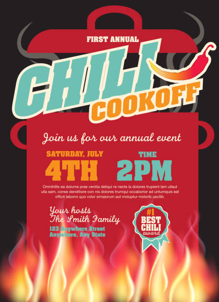 Chili cookoff with red pepper invitation design template Vector illustration of a Chili Cookoff invitation design template. Bright and colorful. Includes yellow, red, hot pepper, color themes with large crock pot on flames. Black background Perfect for white background design for picnic invitation design template, summer barbecue event, picnic celebration, backyard bbq, private or corporate party, birthday party, fun family event gathering, potluck supper. cooking competition stock illustrations