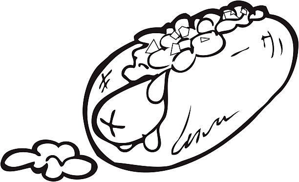 Chili Dog Line Art Vector Illustration