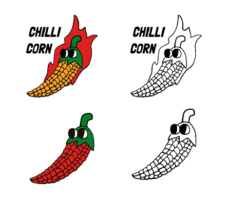 Chili pepper and corn is a cute and funny cartoon character.