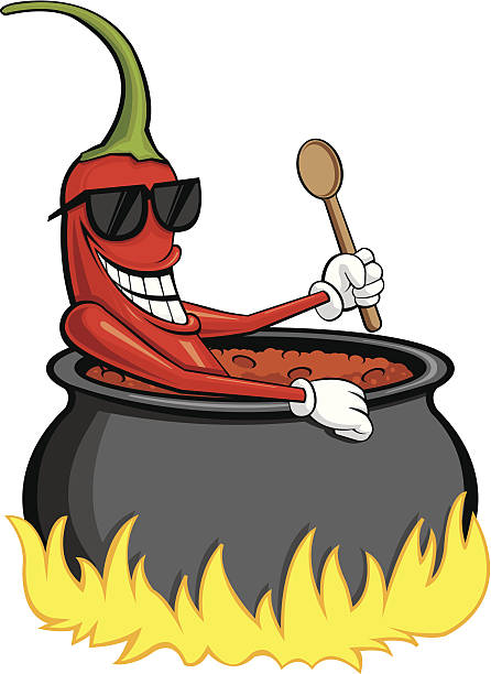 Chili Pepper Bathing This is a chili pepper sitting in a pot of boiling hot chili holding a wooden spoon. Great for chili cook offs. cooking competition stock illustrations