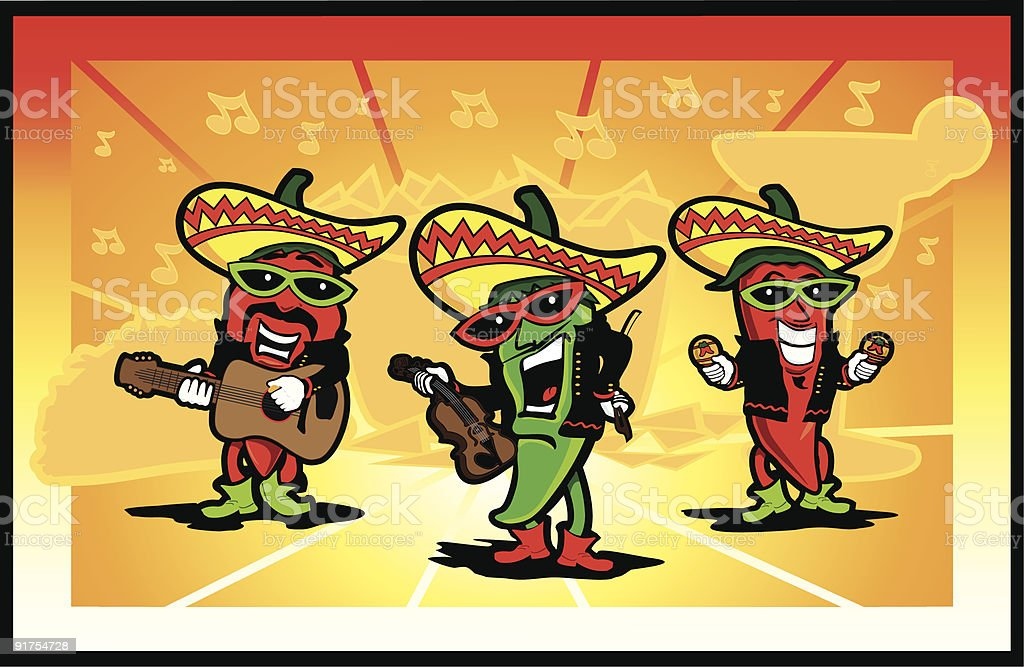 Chili Pepper Mariachi Band vector art illustration
