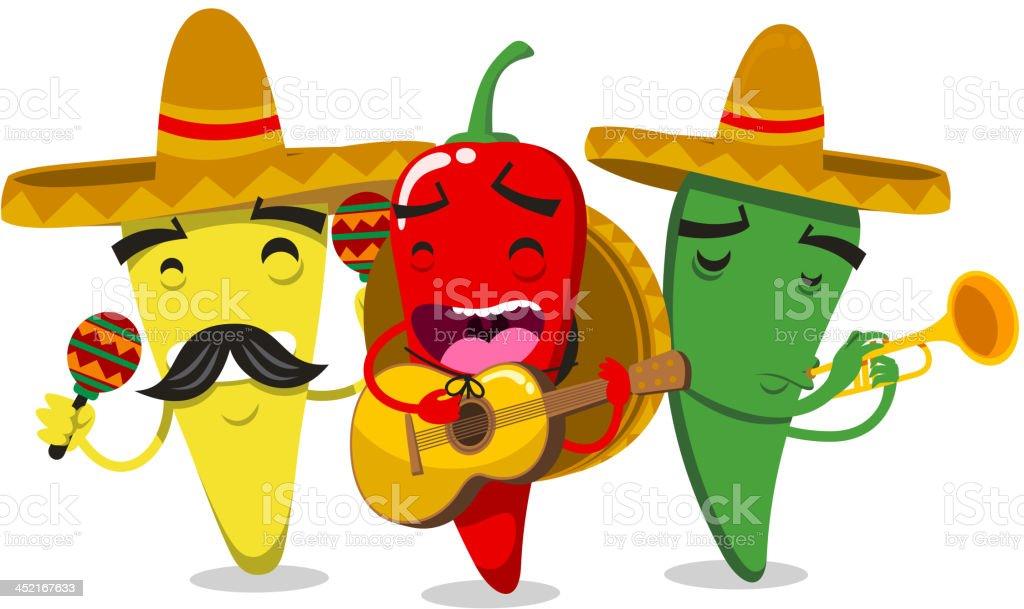 Chili Pepper Mariachi Mariachilis royalty-free stock vector art