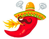 Vector illustration of a spicy chili pepper with flame. Cartoon red chili with sombrero for mexican food.