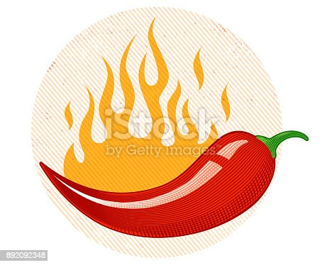 Vintage vector chili peppers with flame in engraving style. Retro illustration of a chili peppers in fire.
