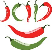 Chili peppers, red and green, vector illustration, isolated, on white background
